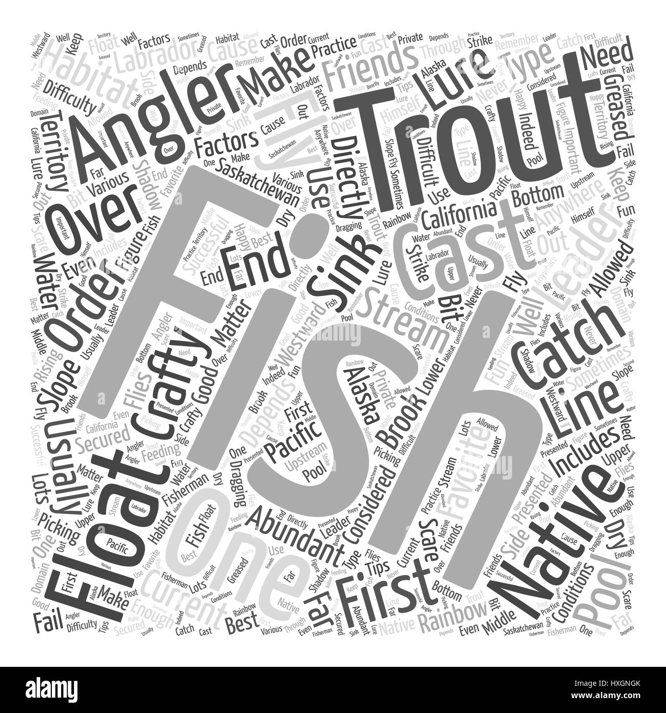 SF trout fishing tips Word Cloud Concept Stock Vector Art