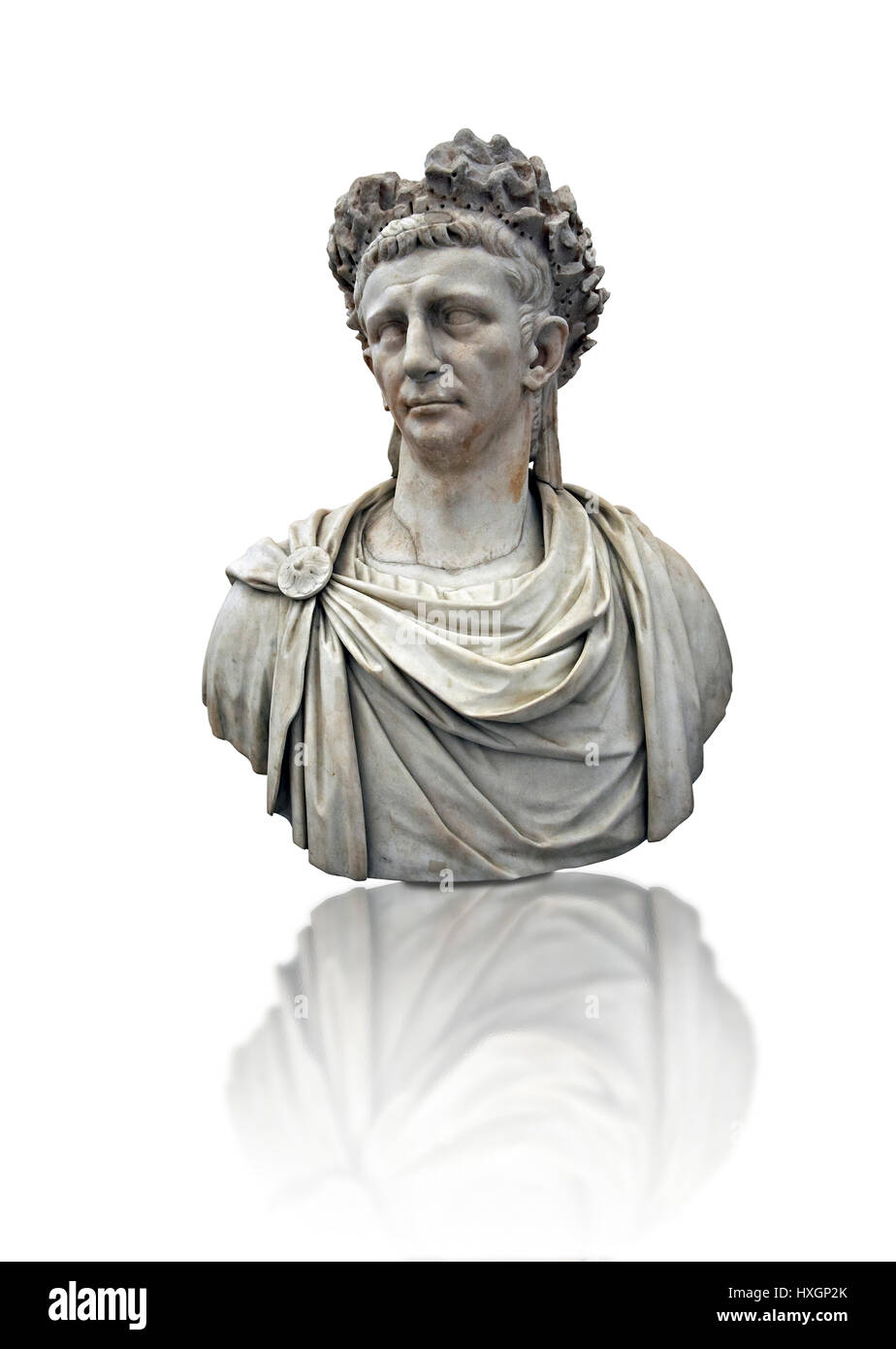 Roman marble sculpture bust of Emperor  Claudius 41-54 AD, inv 6068, Naples Museum of Archaeology, Italy, white - Stock Image