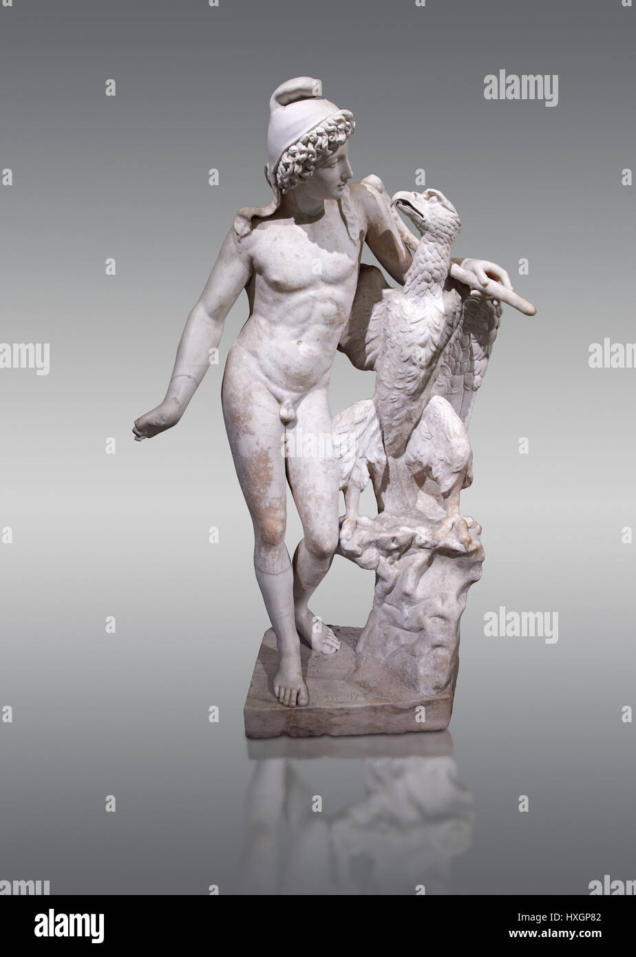 Roman marble sculpture of Ganymede with an eagle, a 2nd century AD, inv 6405, Naples National Museum of Archaeology, - Stock Image