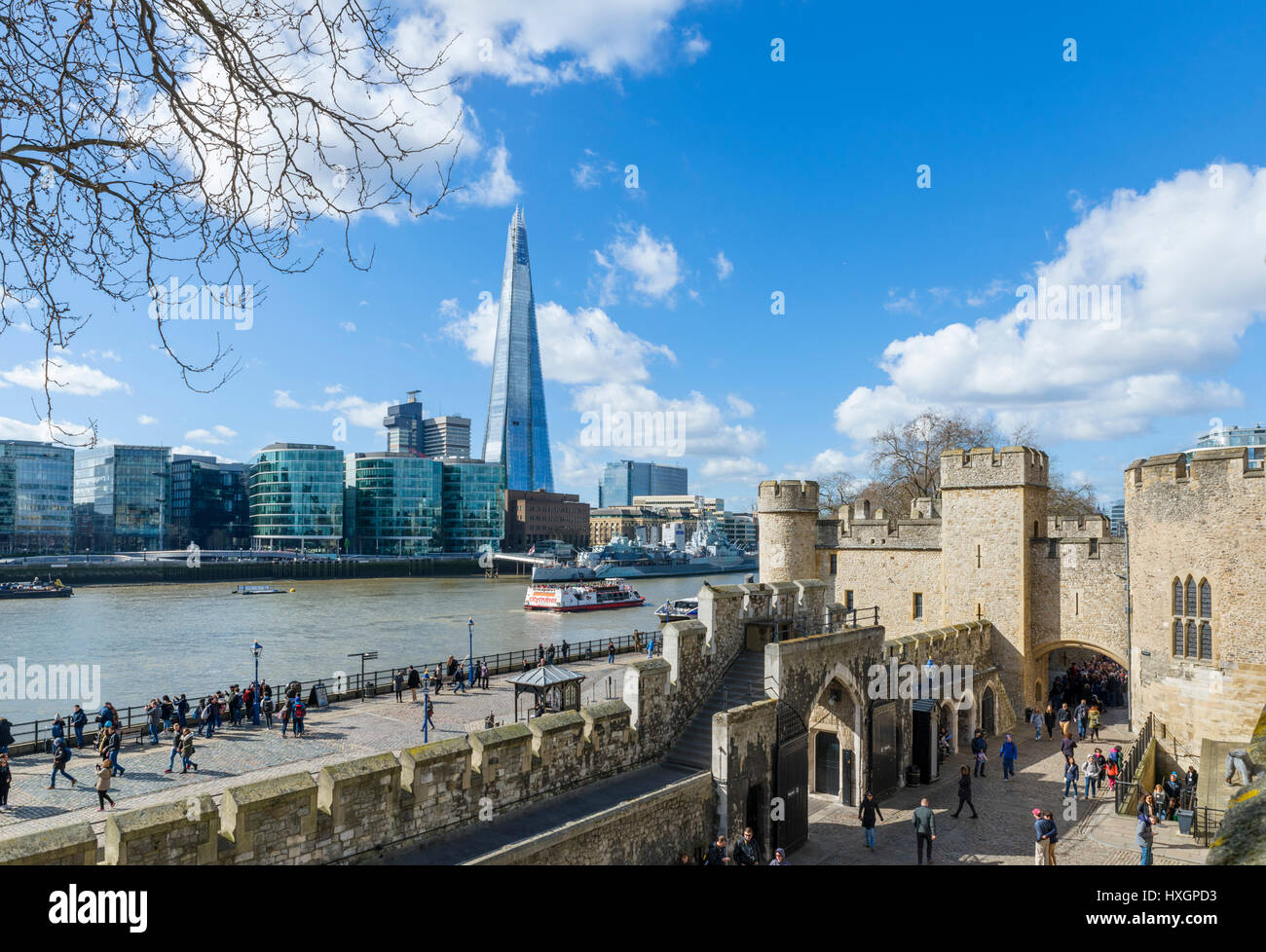 Tower of London. View over the River Thames from the Tower of London looking towards The Shard, London, England, Stock Photo
