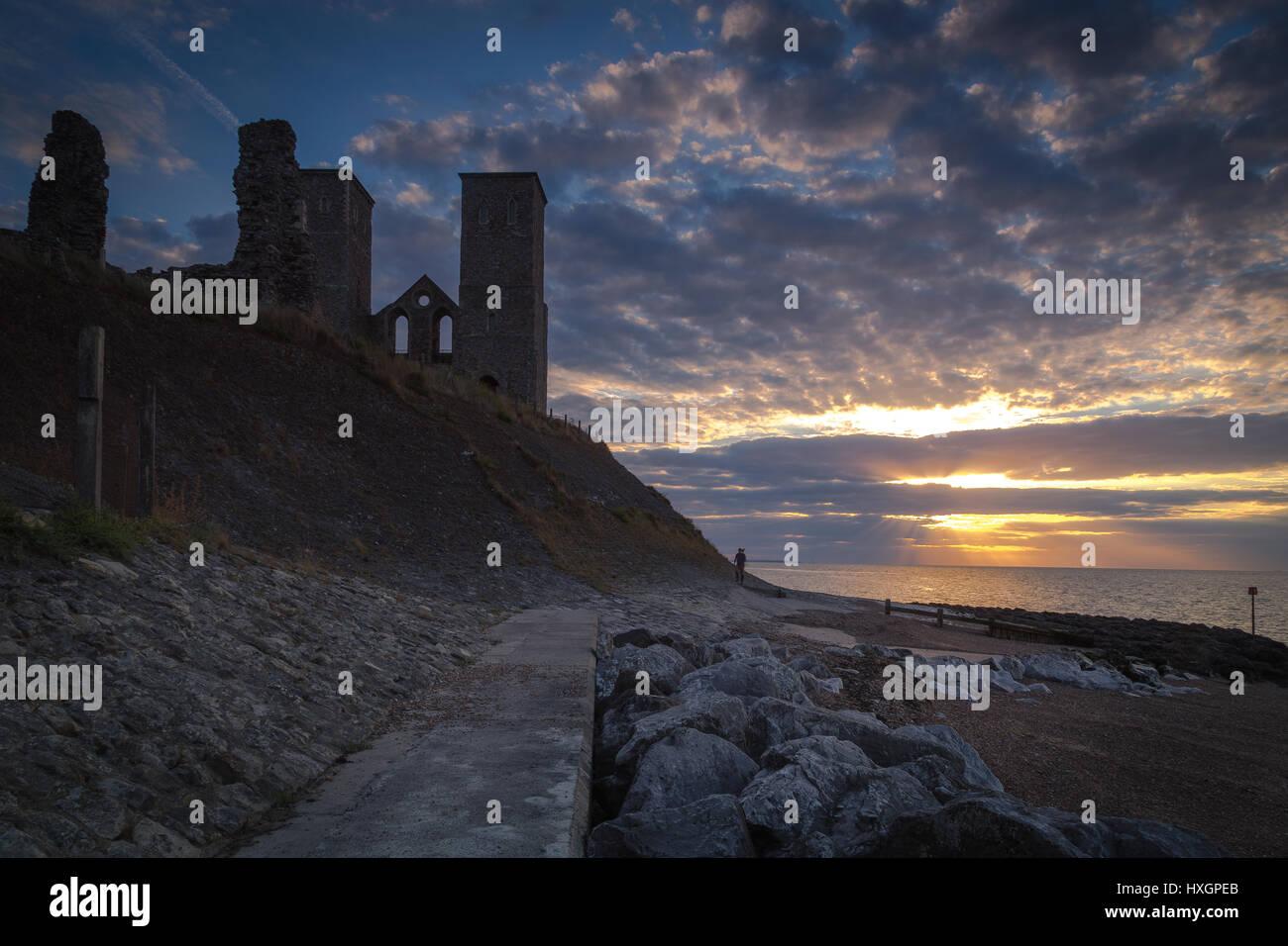 Reculver castle landscape sunset Kent England Stock Photo