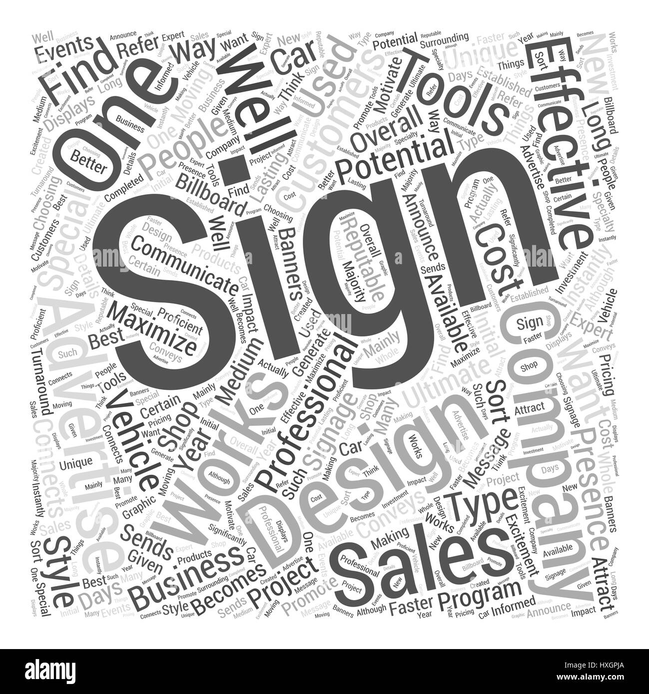 Signs Word Cloud Concept - Stock Image