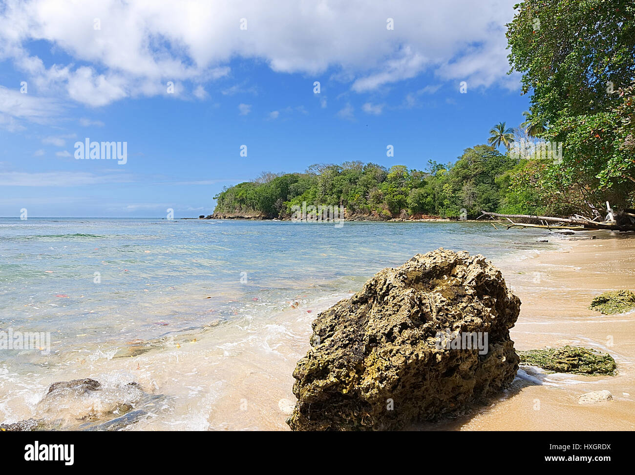 Republic of Trinidad and Tobago - Tobago island - Mt. Irvine bay - Tropical beach of Caribbean sea - Stock Image
