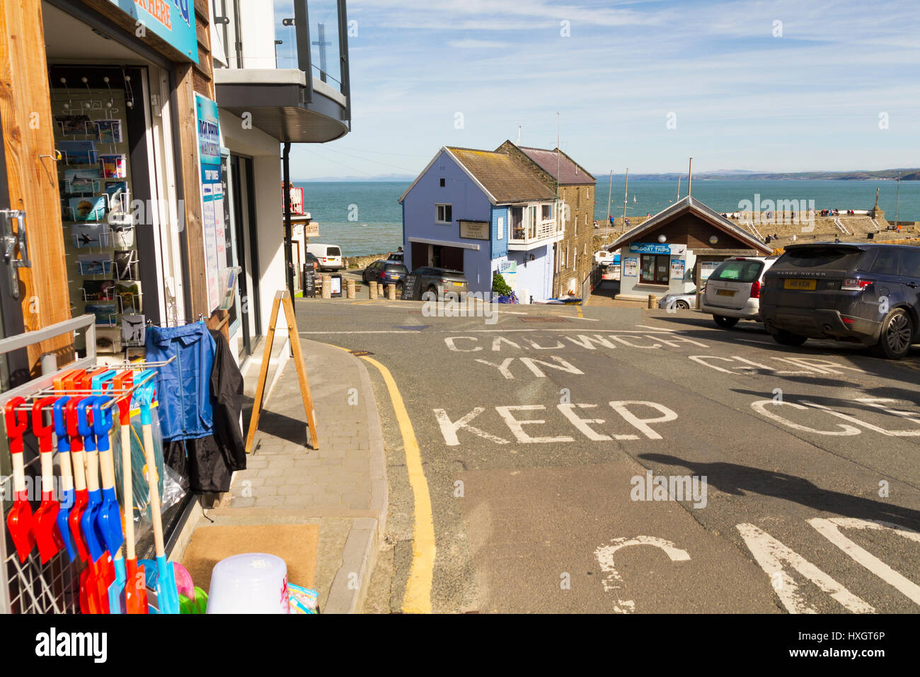 Tourist shops along the seafront in the small coastal town of New Quay Wales - Stock Image