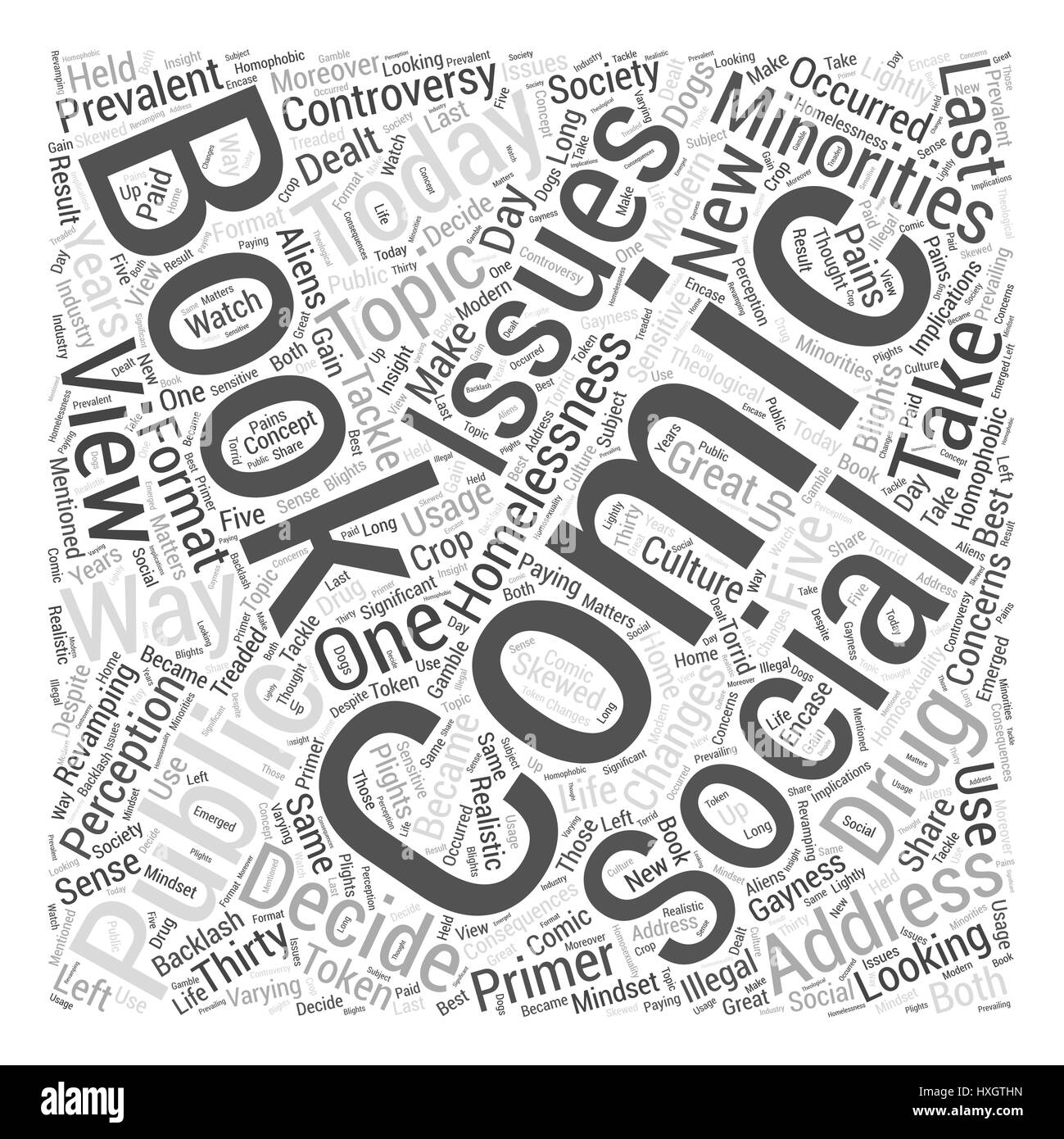 Social issues in comic books Word Cloud Concept - Stock Image