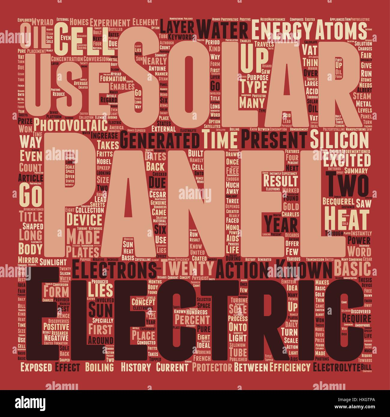 Solar Panels text background wordcloud concept - Stock Image