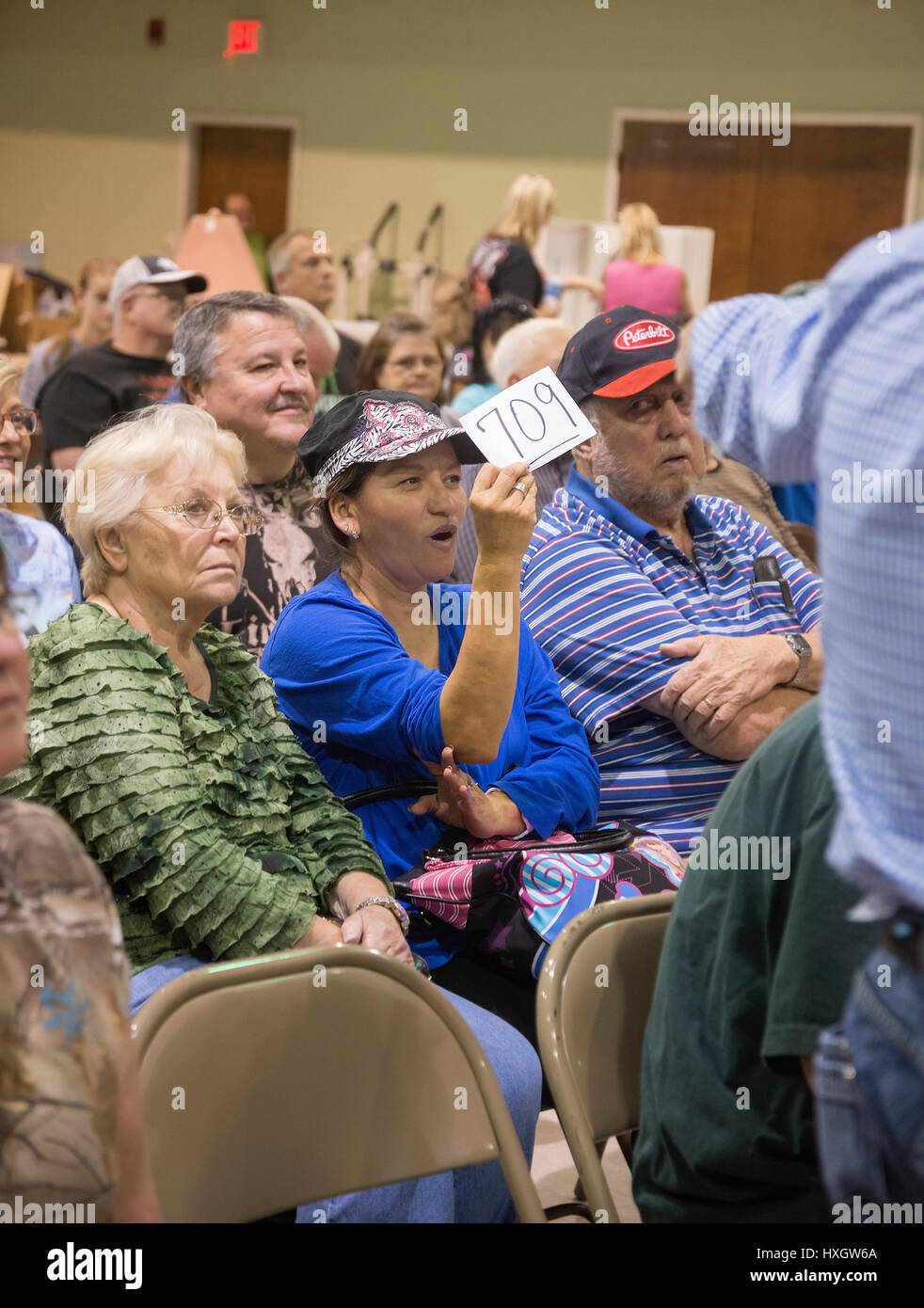 Auction at First Baptist Church, High Springs, Florida. - Stock Image
