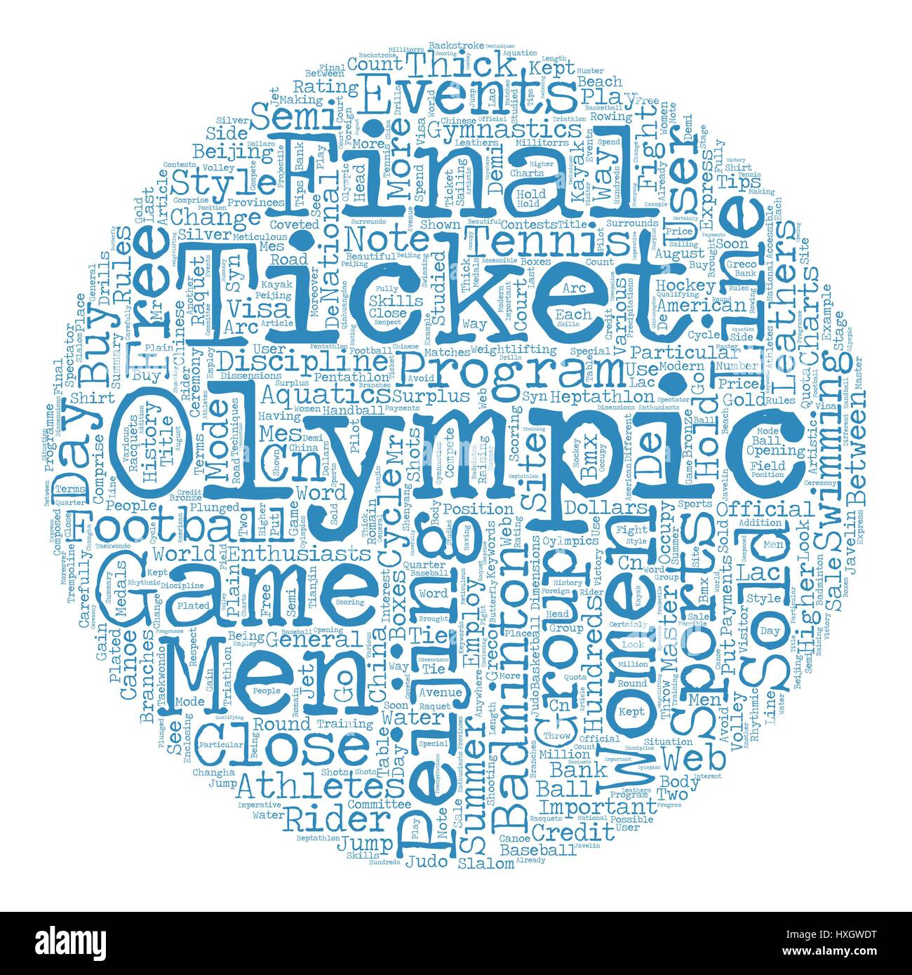 Sports And The 2008 Oylmpics text background wordcloud concept - Stock Vector