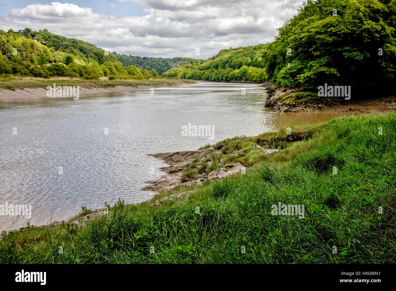 The River Avon and the entrance to the Avon Gorge near Sea Mills from Paradise Bottom at high tide - Bristol UK - Stock Image