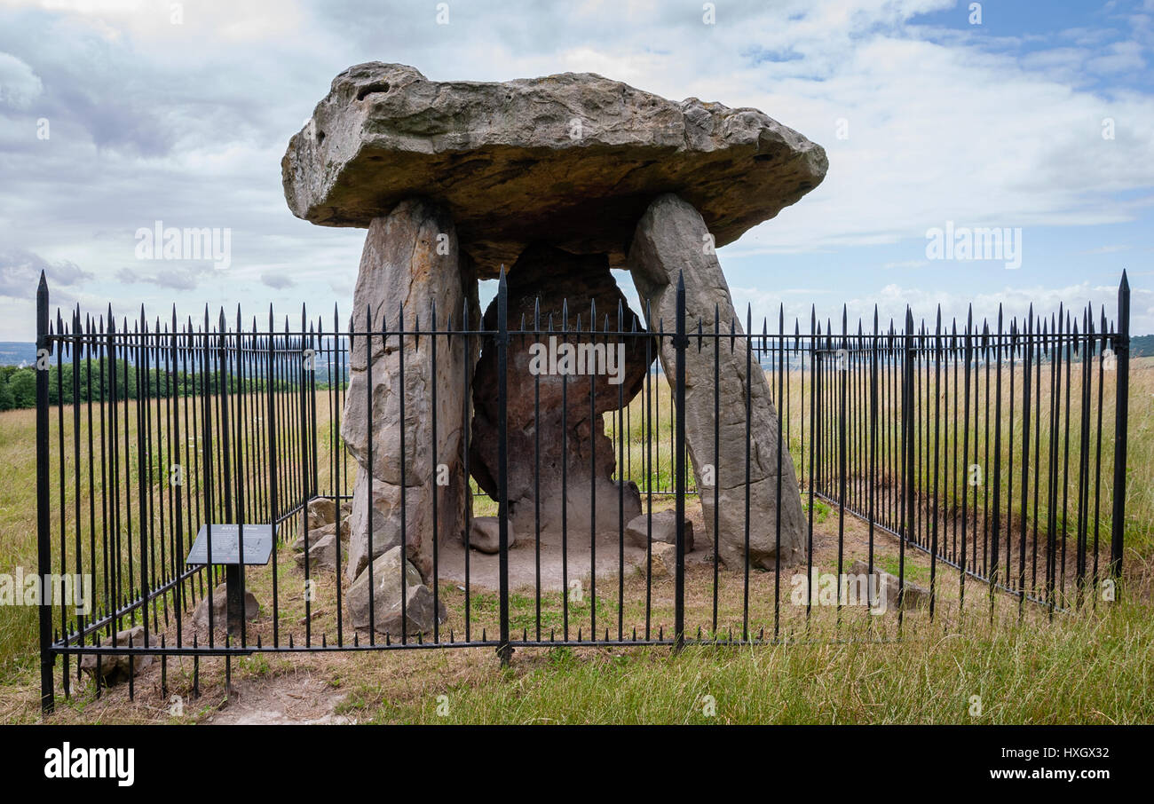 KIt's Coty House - the remains of a Neolithic chambered long barrow on Bluebell Hill near Aylesford in Kent - Stock Image