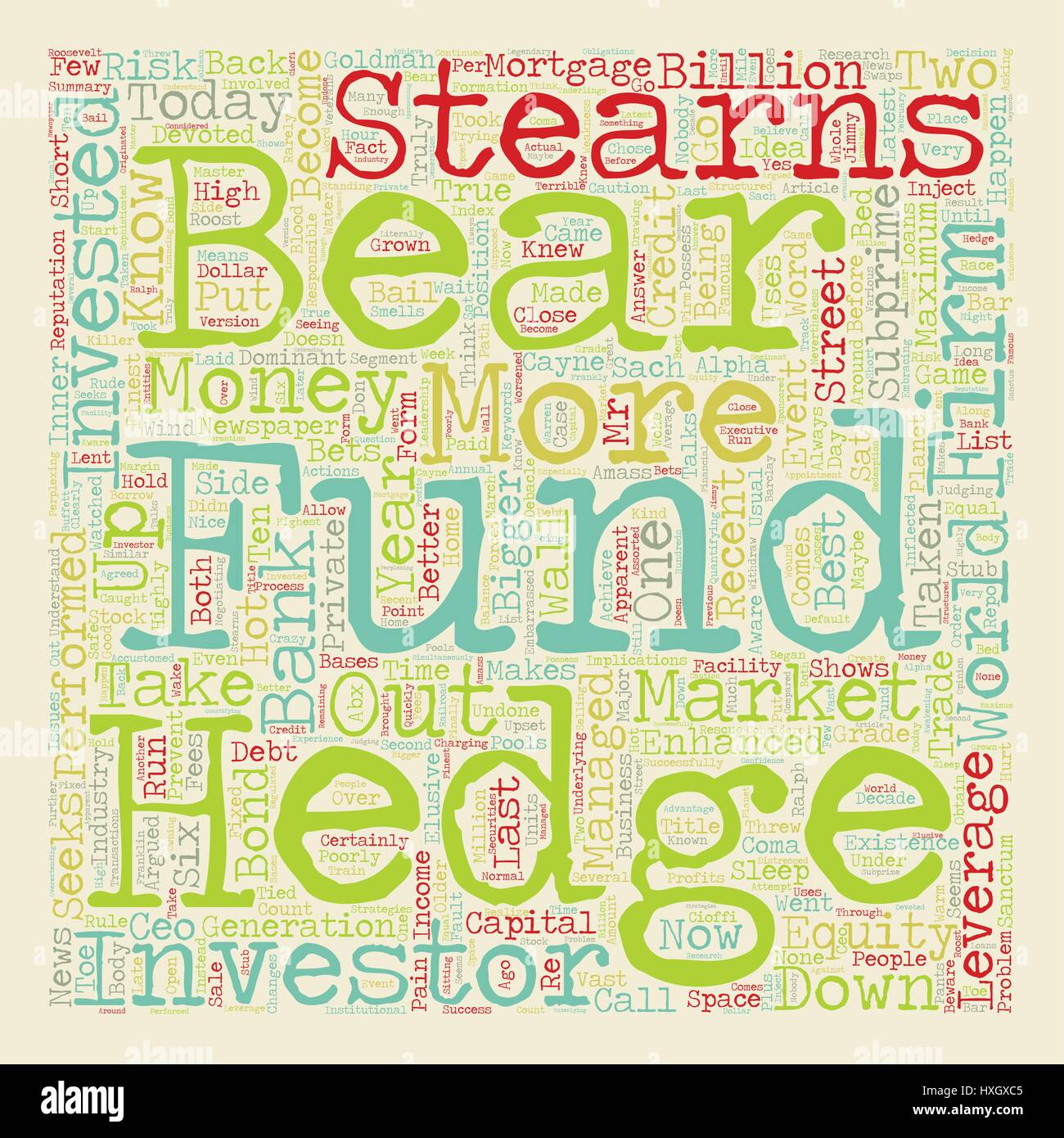 Stock Research Hedge Funds If Bear Stearns Doesn t Know Who Knows text background wordcloud concept - Stock Image