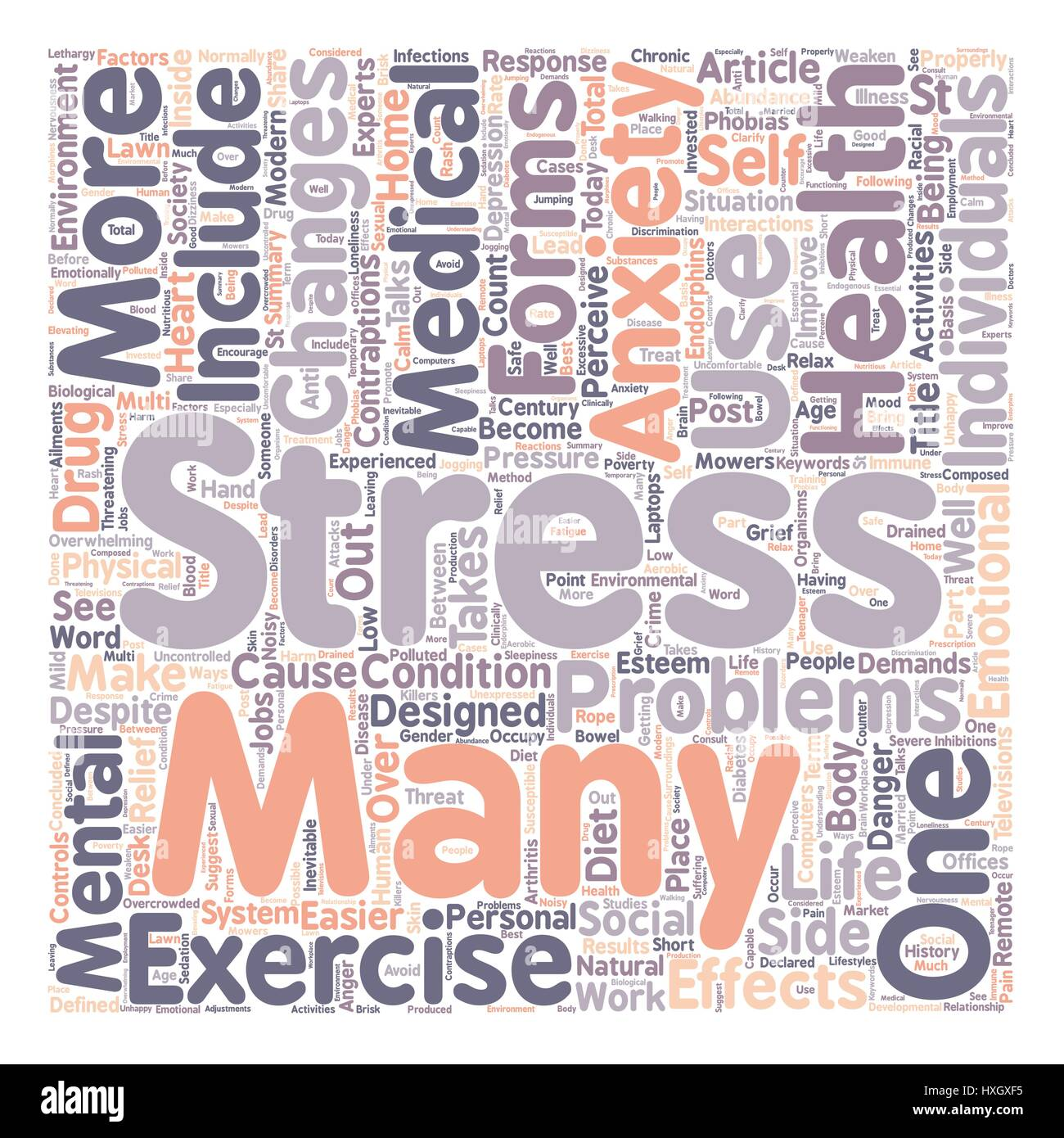 Stress and Anxiety in Post Modern Society text background wordcloud concept - Stock Vector