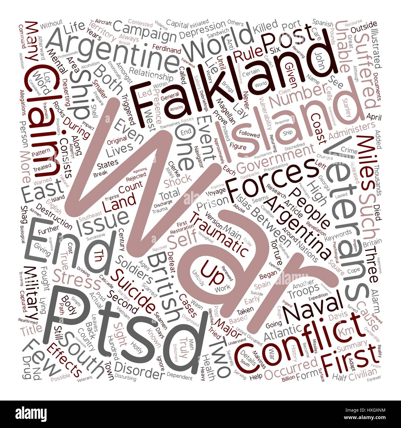 Suicide and PTSD Post War Torture text background wordcloud concept - Stock Vector