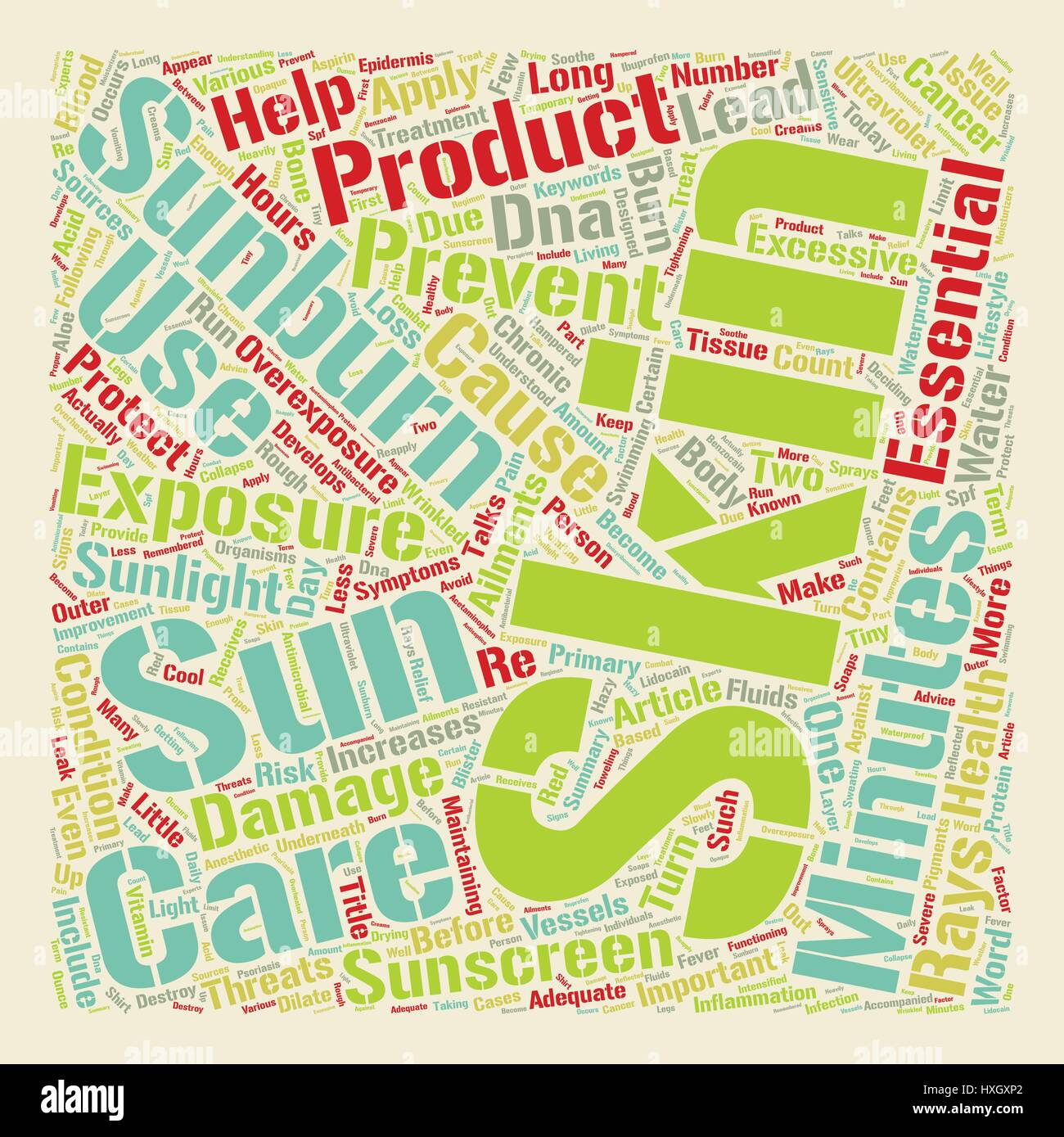 Sunburn An Important Skin Issue text background wordcloud concept - Stock Vector
