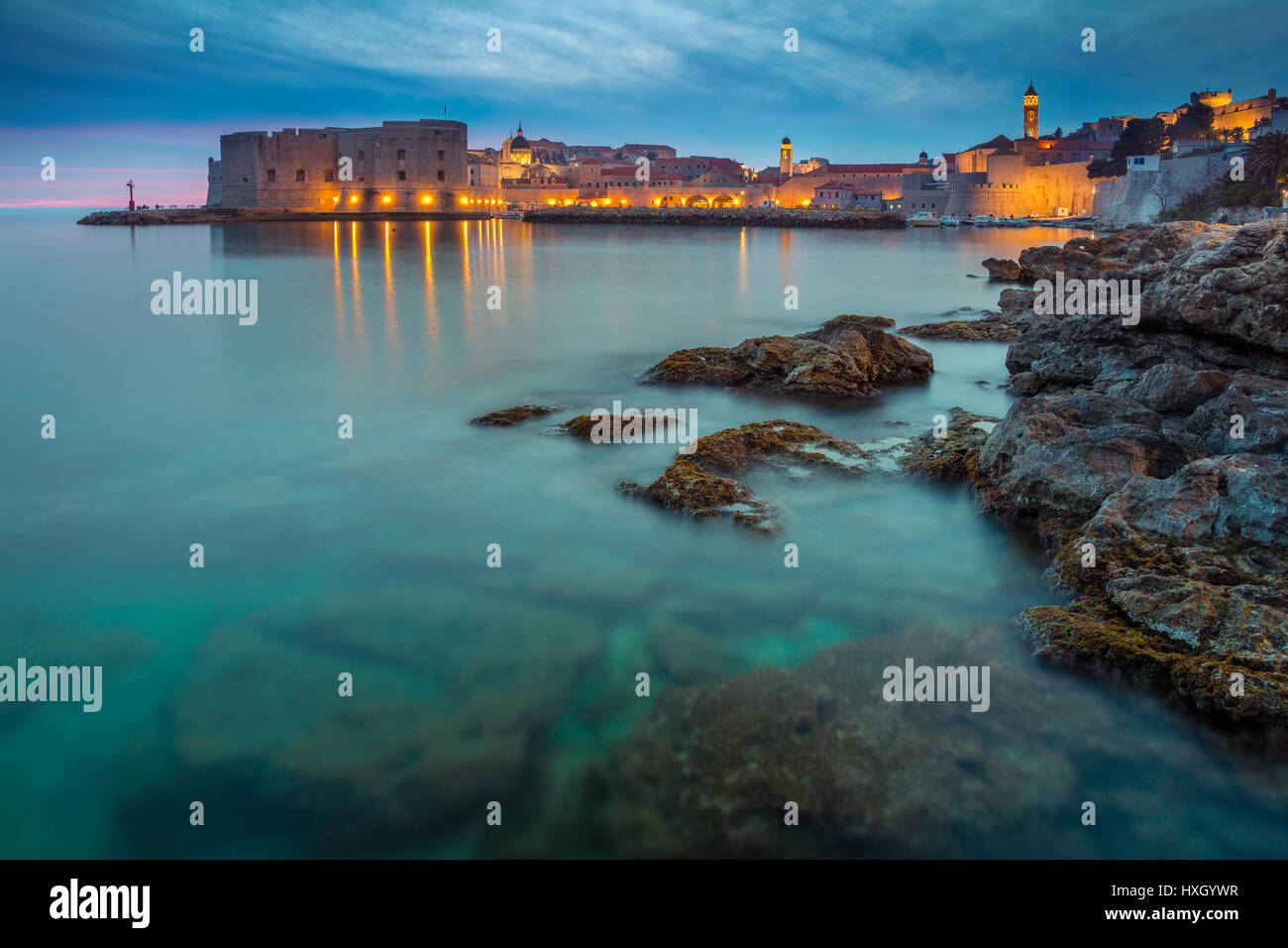 Dubrovnik, Croatia. Beautiful romantic old town of Dubrovnik during sunset. - Stock Image