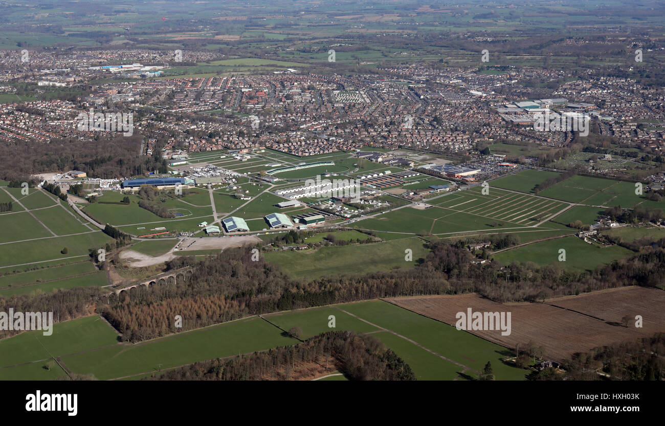 aerial view of Harrogate Showground, home of The Yorkshire Show, UK - Stock Image