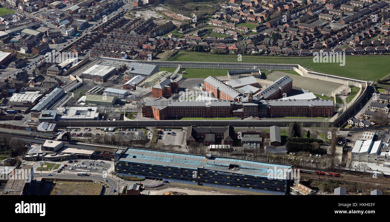 aerial view of HMP Wakefield, Category A prison, UK - Stock Image