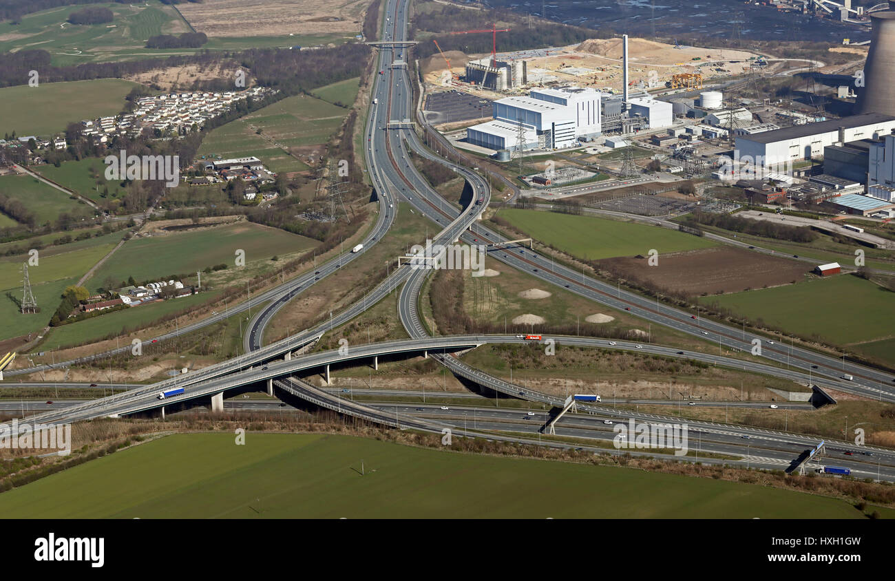 aerial view of the A1 M62 junction at Ferrybridge, Yorkshire, UK - Stock Image