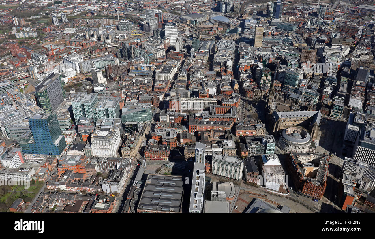 aerial view of Deansgate & Manchester city centre, UK - Stock Image