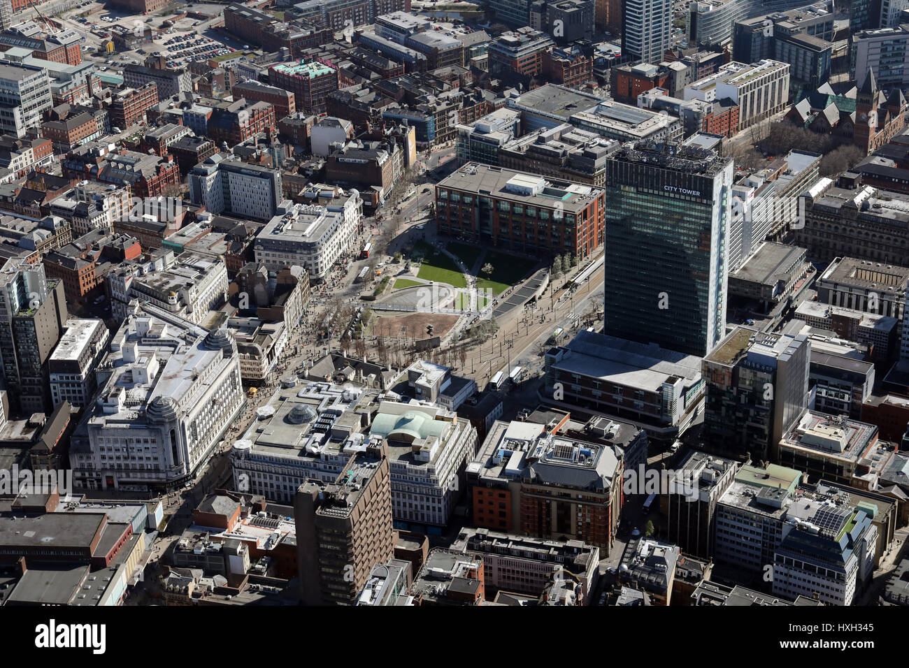 aerial view of Piccadilly Gardens, Manchester, UK - Stock Image