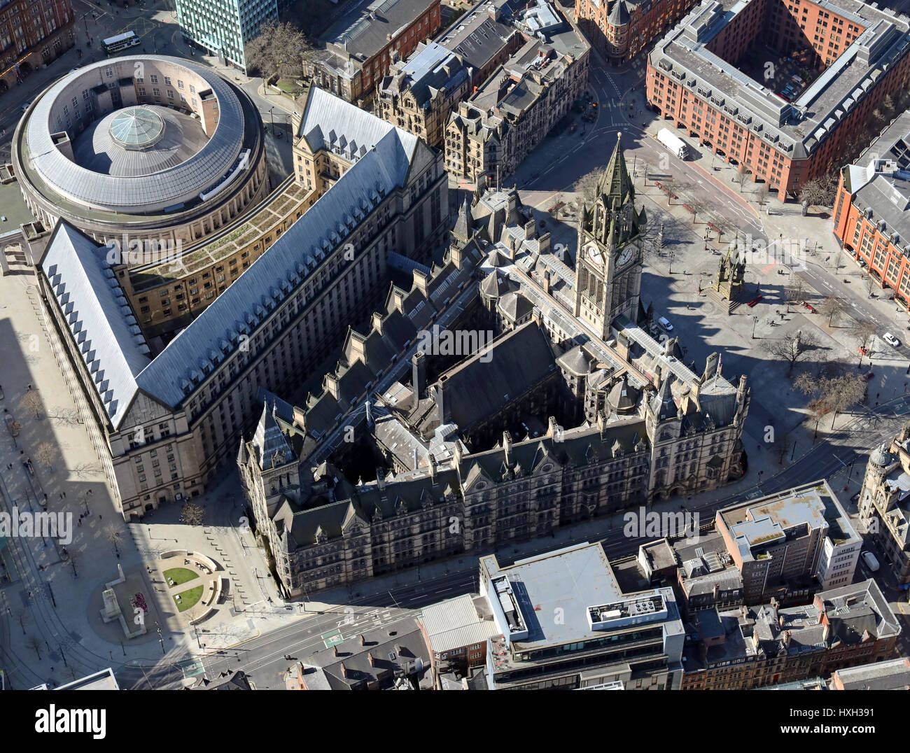 aerial view of Manchester Town Hall, UK - Stock Image
