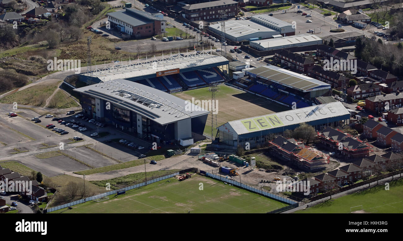 aerial view of Oldham Athletic Boundary Park, UK - Stock Image