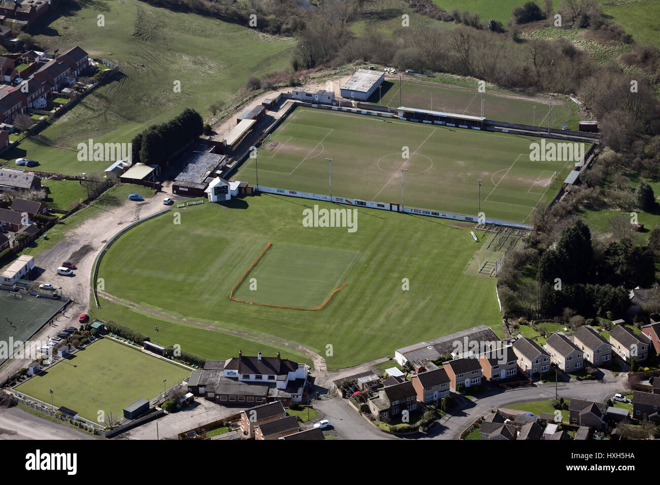 aerial view of Ossett Albion Football Club & Ossett Cricket and Athletic Club, UK - Stock Image