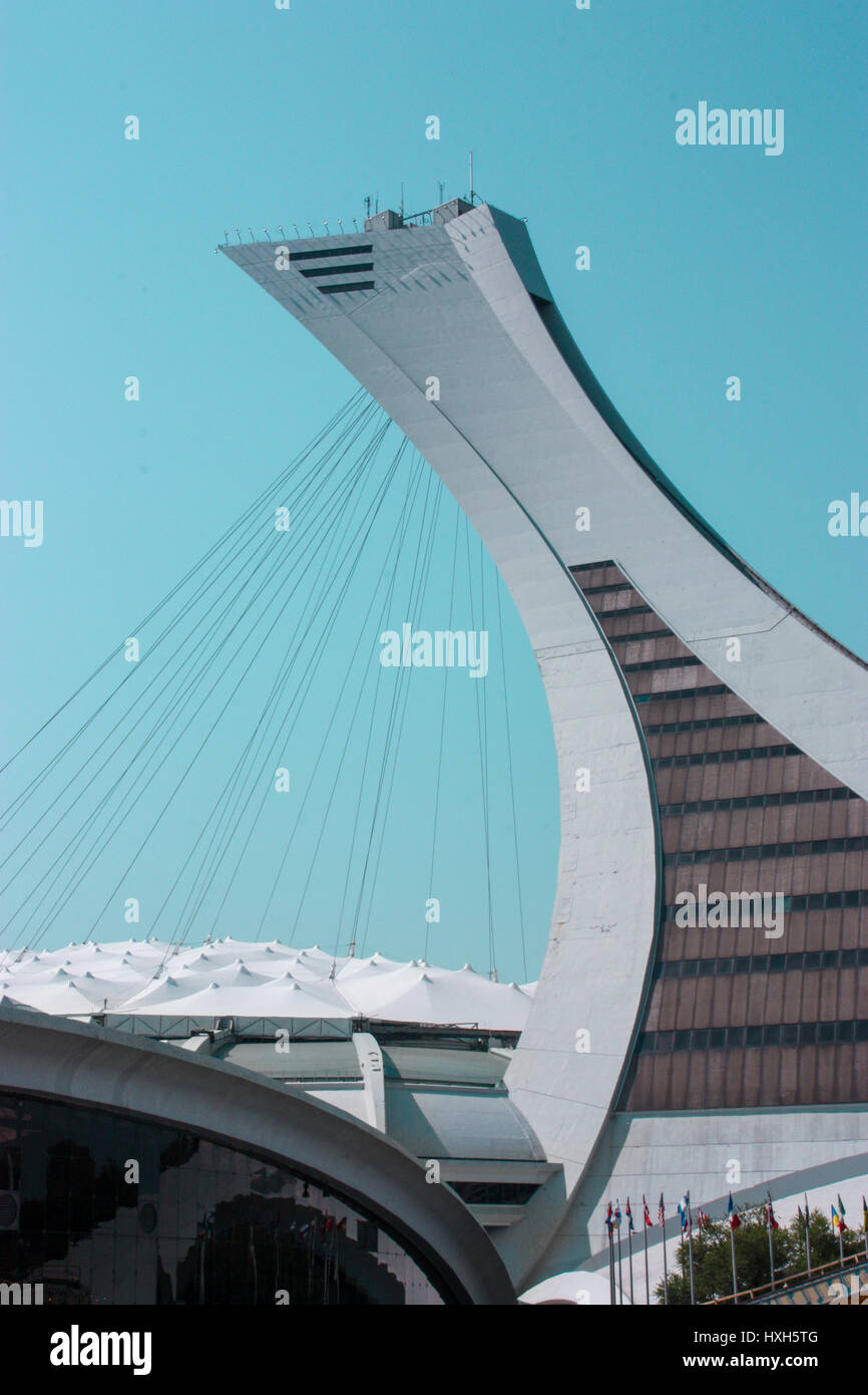 MONTREAL CANADA 08 25 12: Montreal Olympic Stadium tower, It's the tallest inclined tower in the world. - Stock Image