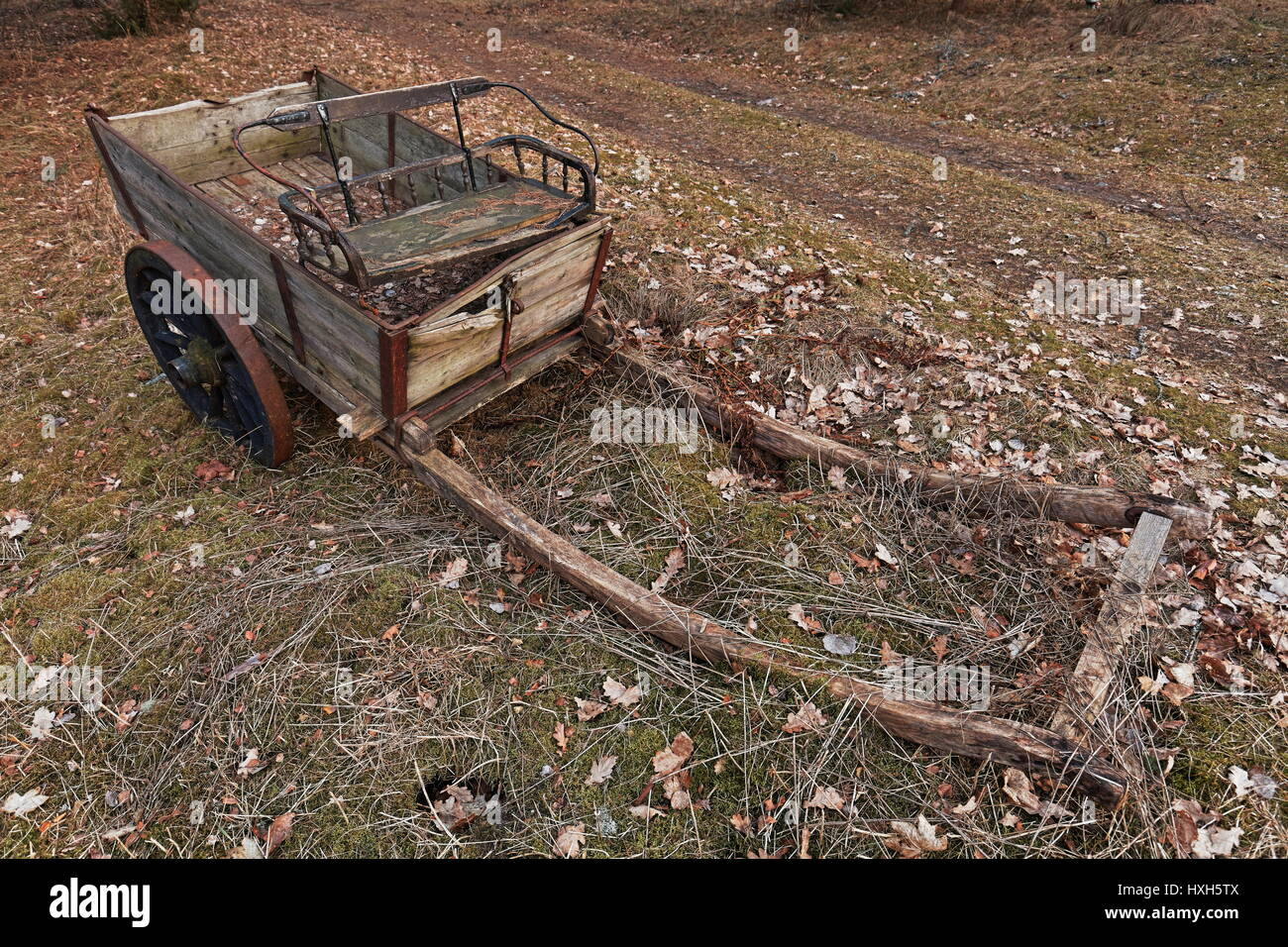 Old horse trailer in countryside - Stock Image