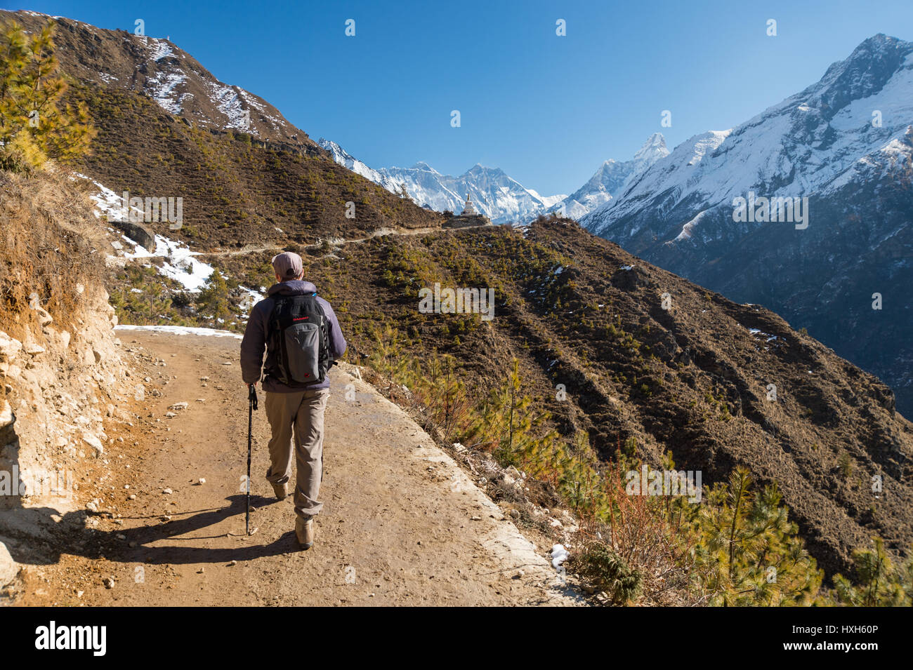 Trekker on a trail in the Himalayan region, with Everest and Ama Dablam mounts in the background - Stock Image