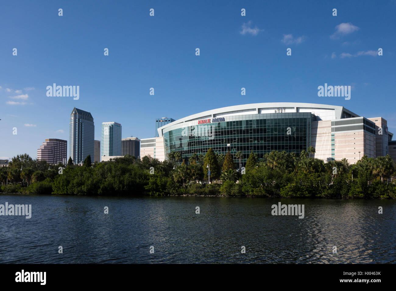 Amalie Arena and skyline, Tampa, Florida, USA Stock Photo