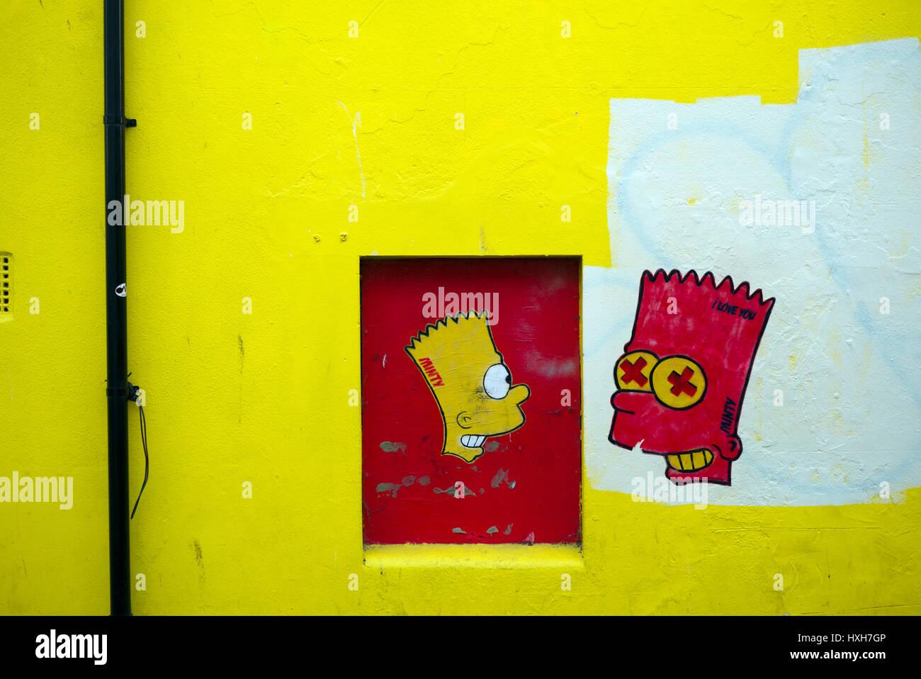 Bart Simpson graffiti, Brighton - Stock Image