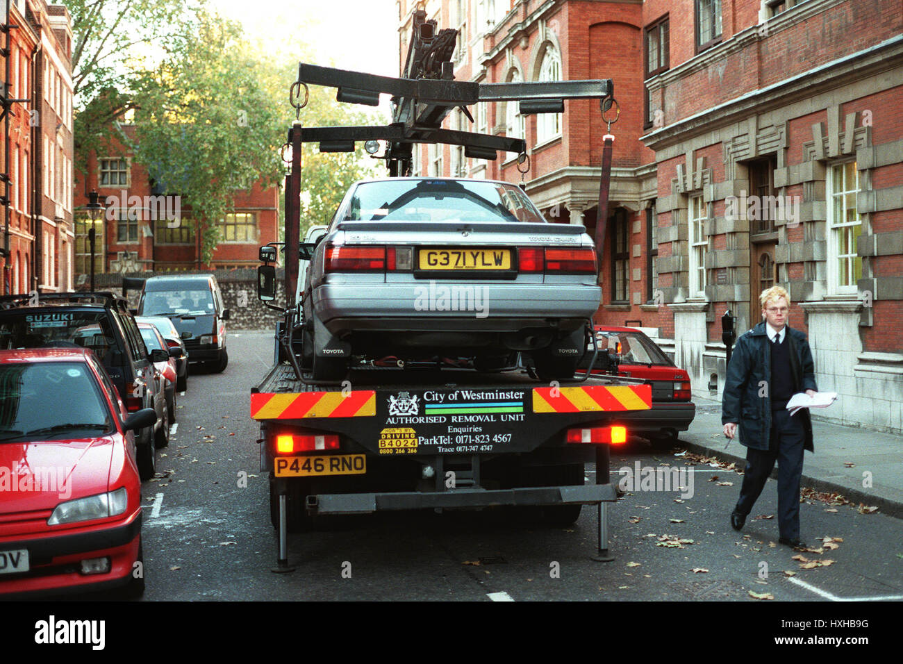 CLAMPED CAR LOADED ONTO TRUCK WESTMINSTER LONDON 09 December 1997 ...