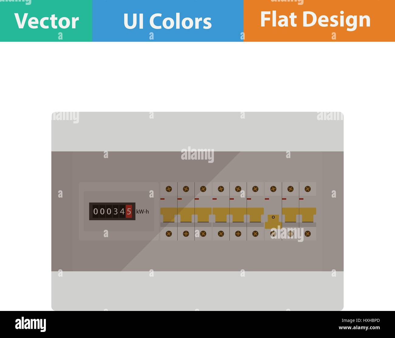 Fuse Box Stock Vector Images Alamy Icons Circuit Breakers Icon Flat Design Illustration