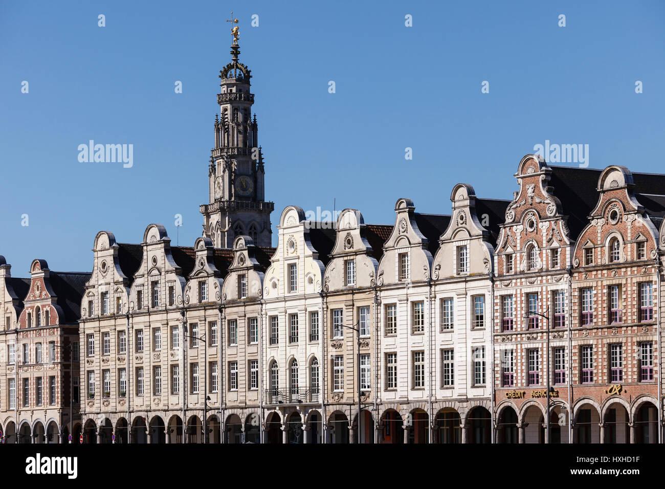 Flemish baroque style facades in the Grand Place, Arras, Pas-de-Calais, France - Stock Image