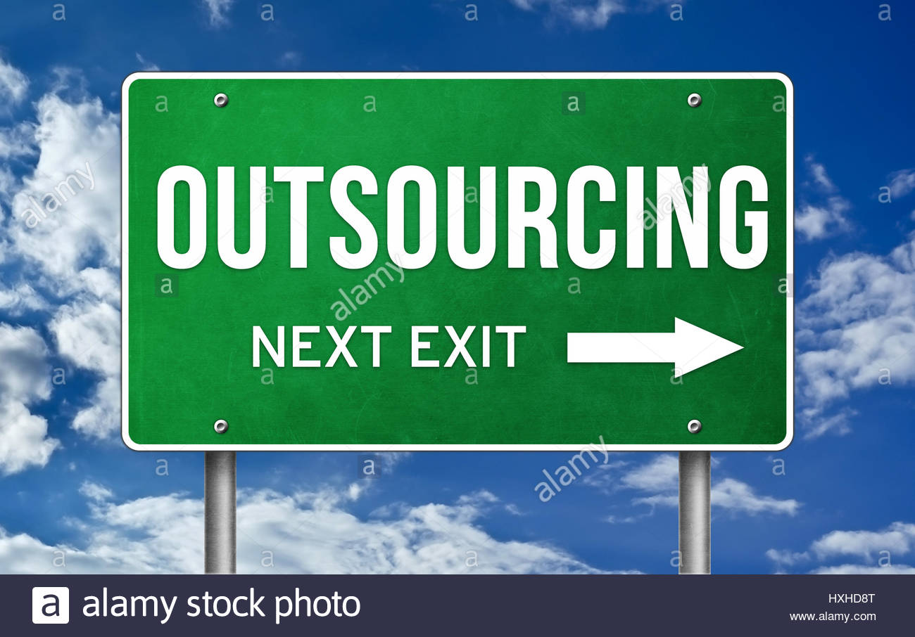 Outsourcing take the next exit - Stock Image