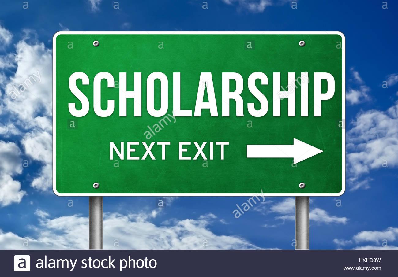 Scholarship take the next exit - Stock Image