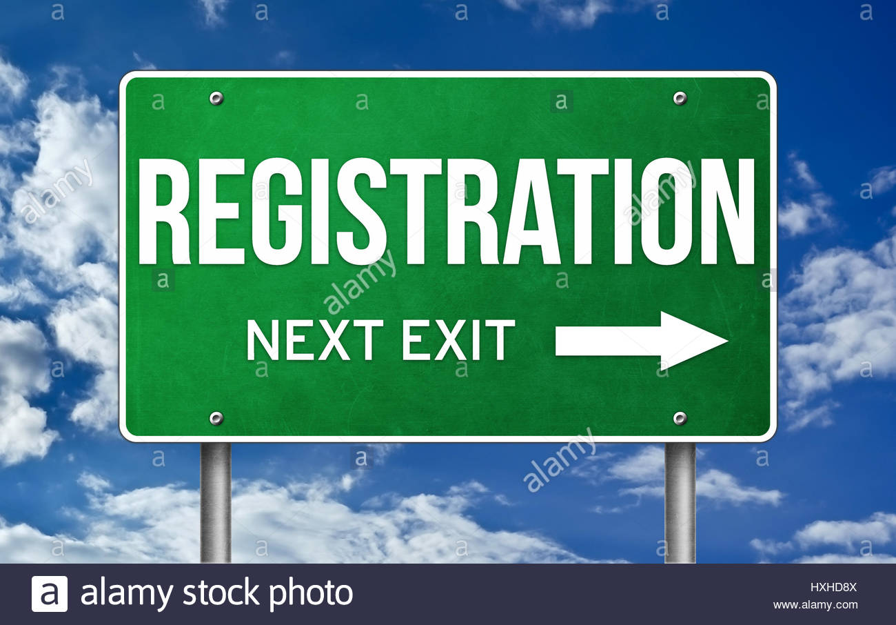 Registration take the next exit - Stock Image