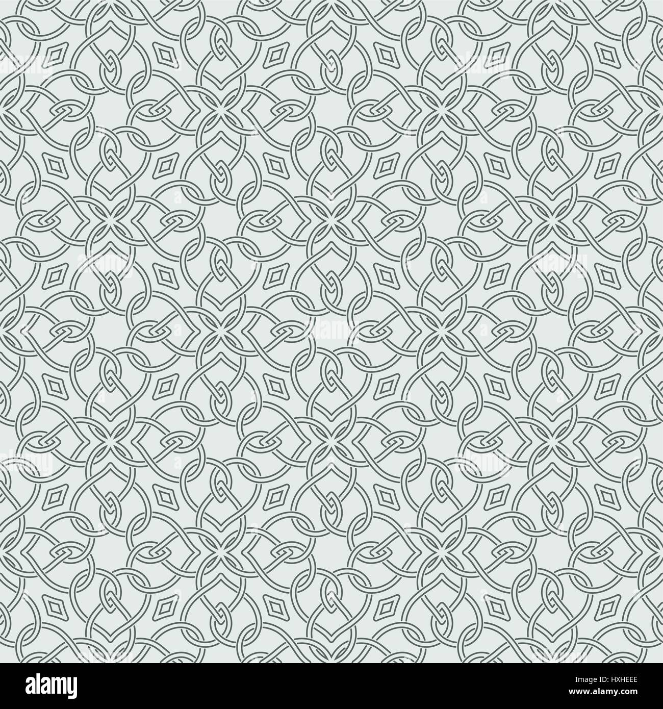 Seamless pattern in arabic style. Abstract background. Islamic texture. Repeating tiles with intersecting curving - Stock Image