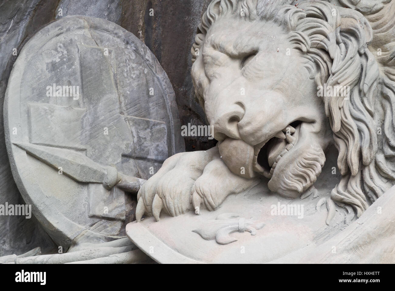 Löwendenkmal: 'the most mournful and moving piece of stone in the world' (Mark Twain) - close-up - Stock Image
