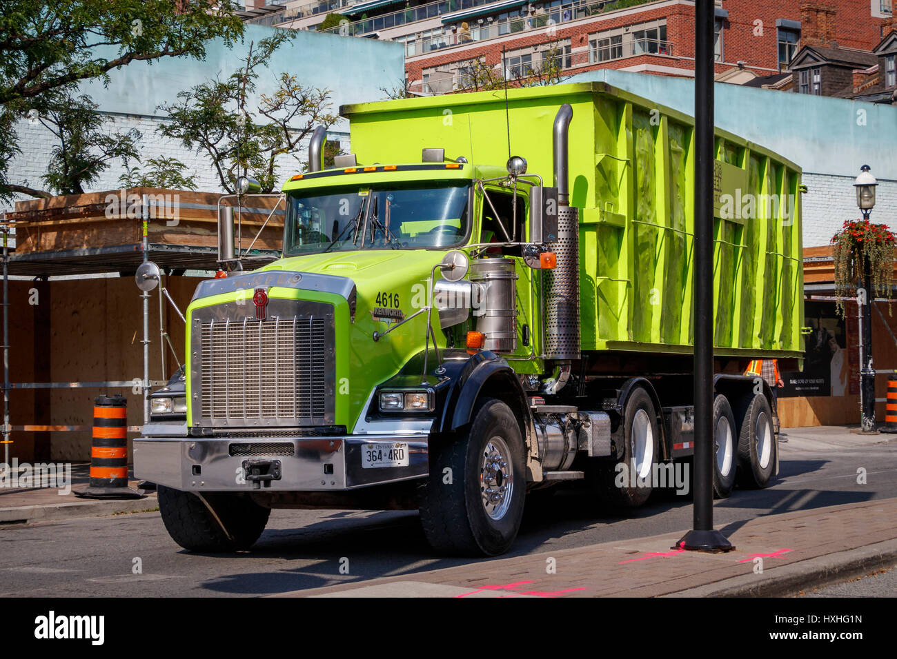 An Anpro Kenworth truck with hopper body in green livery. Toronto, Ontario, Canada. - Stock Image
