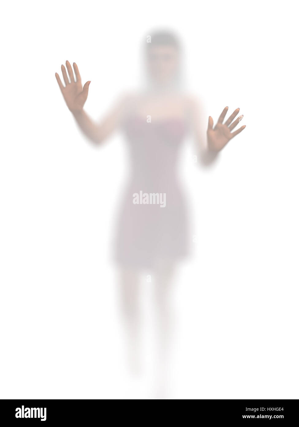 woman behind the opaque glass - Stock Image