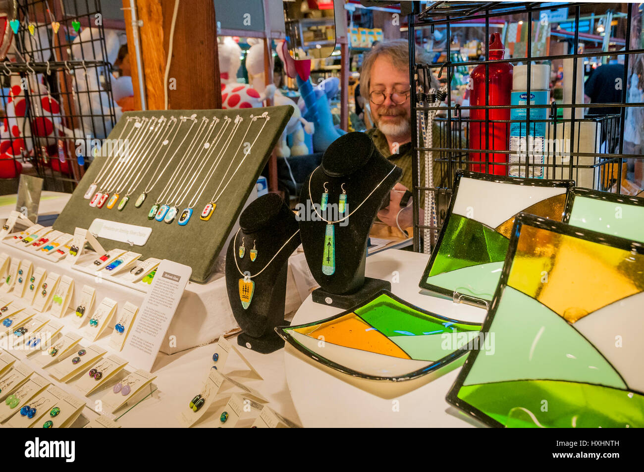 Fused glass, artisan table, Granville Island Public Market, Vancouver, British Columbia, Canada - Stock Image