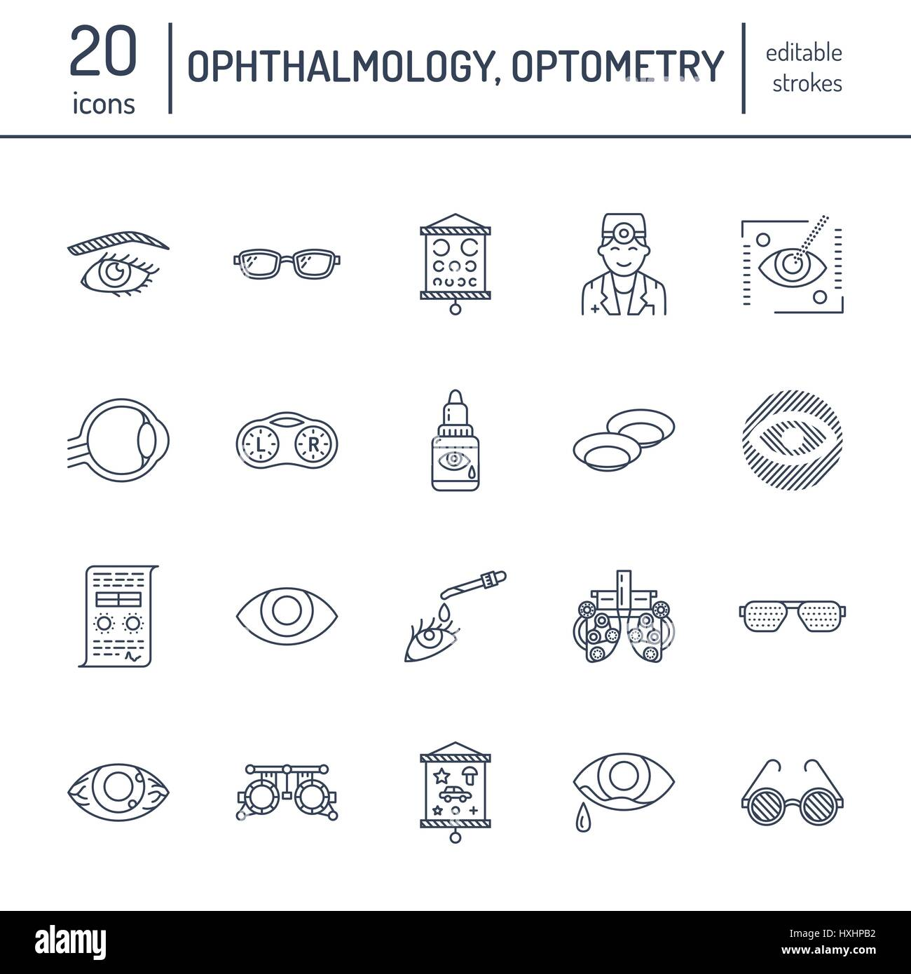 Ophthalmology, eyes health care line icons  Optometry