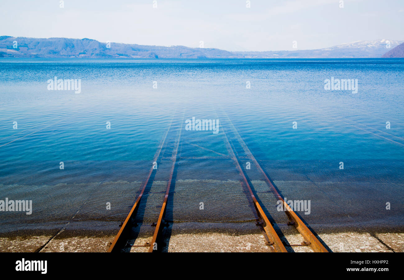 shipyard by the Toya Lake Hokaido Japan - Stock Image