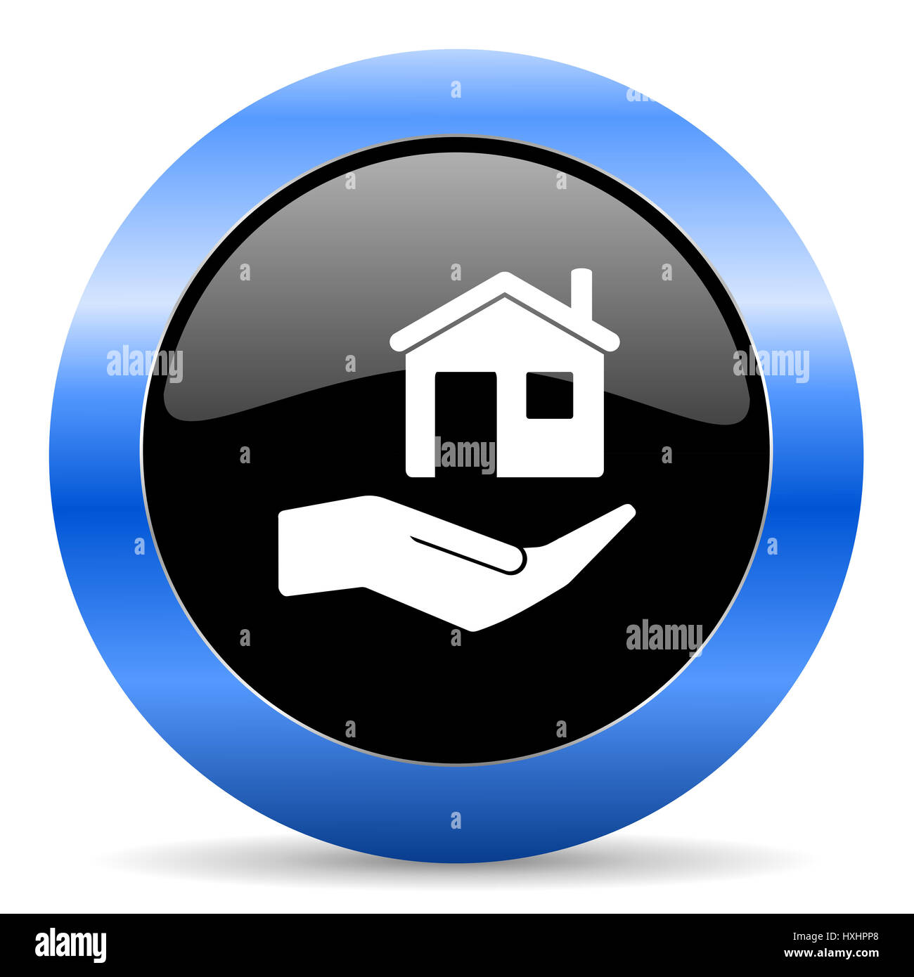 House care black and blue web design round internet icon with shadow on white background. - Stock Image