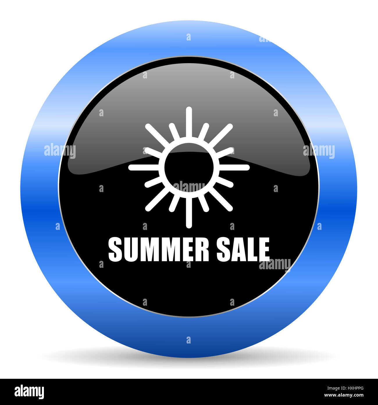 Summer sale black and blue web design round internet icon with shadow on white background. - Stock Image