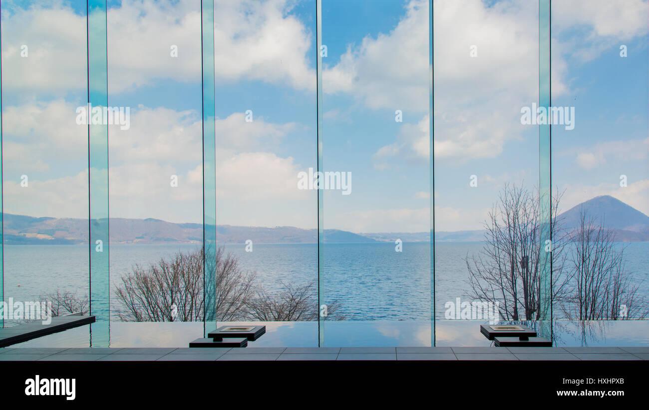Toya Volcanic Lake Hokaido Japan - Stock Image