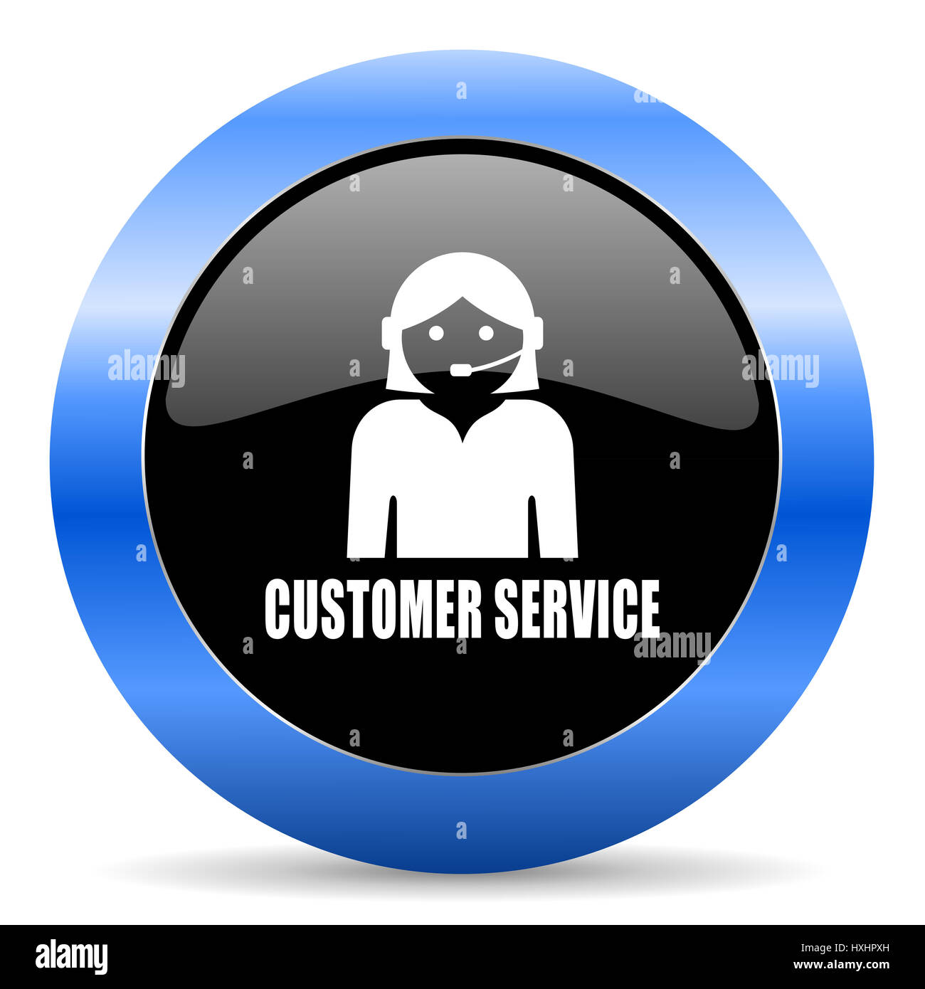 Customer service black and blue web design round internet
