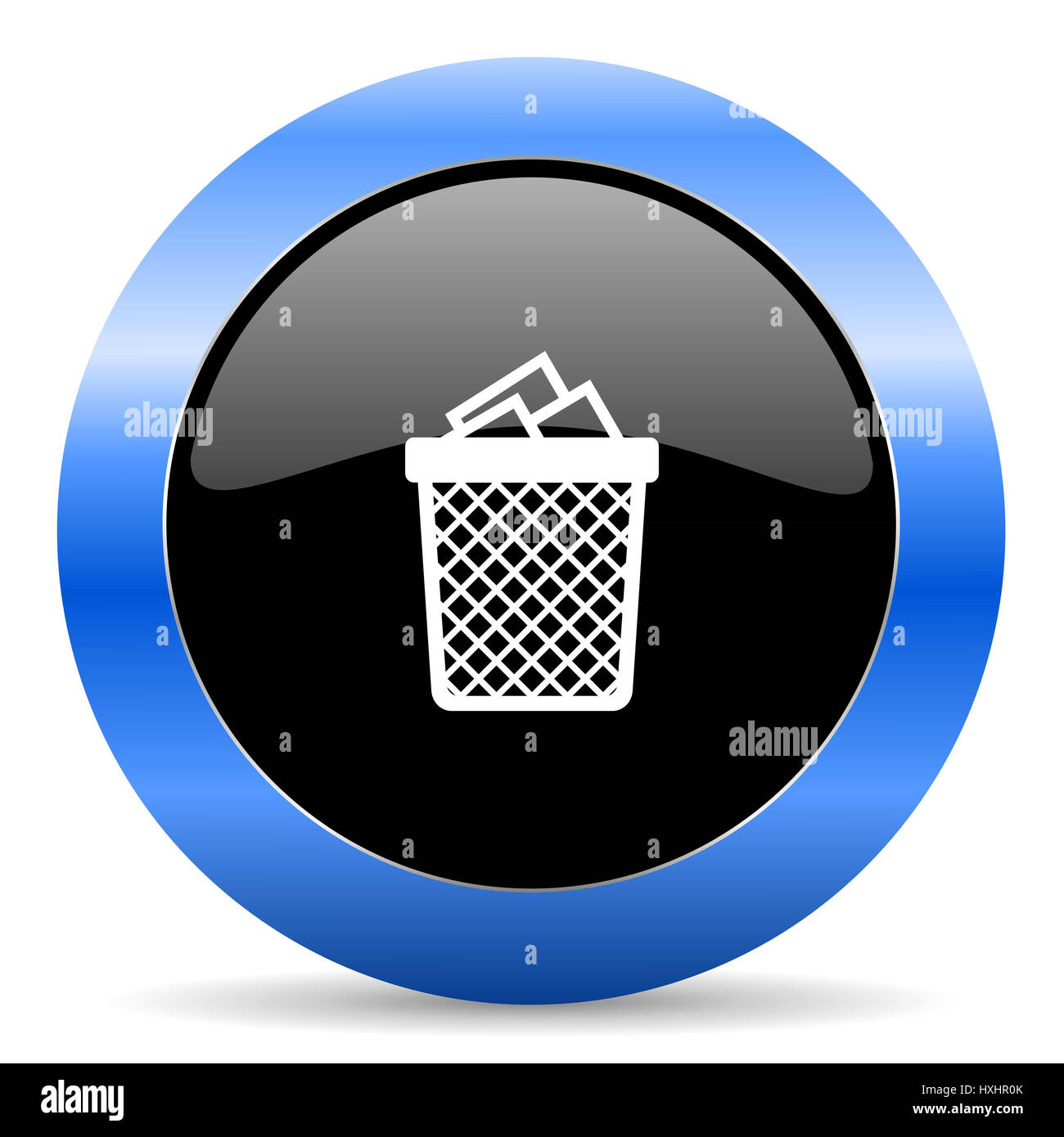 Trash can black and blue web design round internet icon with shadow on white background. - Stock Image